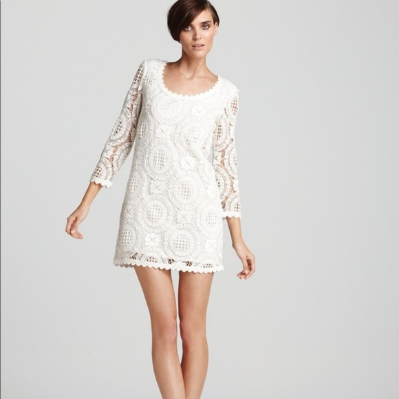 French Connection Cotton White Lace Overlay Dress